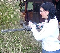 Foto: Junge Frau beim Heckenschneiden