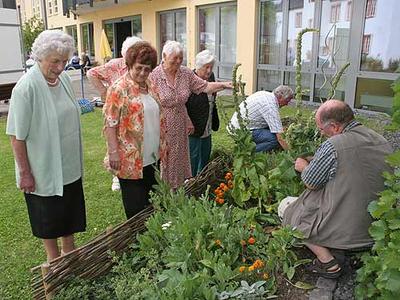 Gemeinsam mit den Seniorinnen und Senioren gestalteten die Ehrenamtler am Aktionstag im Seniorenheim St. Josef in Kröv sommerlich duftende Beete mit heimischen Kräutern.