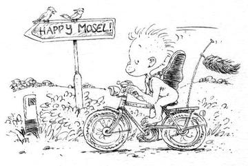 Zeichnung des kleinen Dodos auf einem Fahrrad unterwegs zu Happy Mosel.