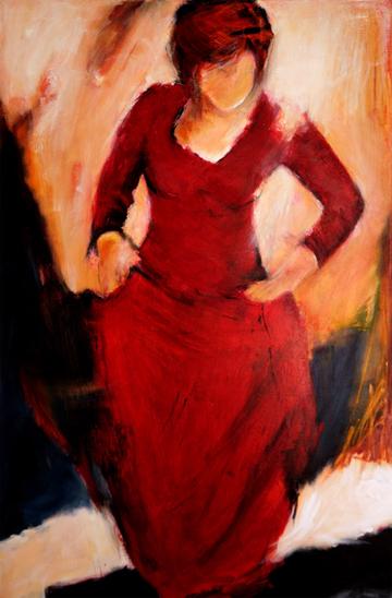 Gemälde von meggi Fritzen, das eine Frau ohne Gesicht in rotem Kleid zeigt.